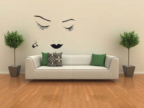 PeelCo DARK BEAUTY Girls Face and Butterflies Wall Decal Sticker for Home - 1
