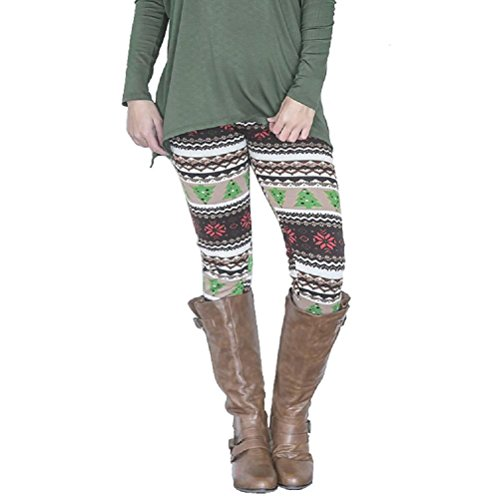 SunWard(TM) Casual Women Christmas Tree Print Stretchy Pants Leggings (XLarge, Multicolor1)