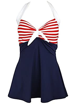 Skirtini Stripe Navy Blue Retro Pin up Bathing Suit Swimsuit Swimwear