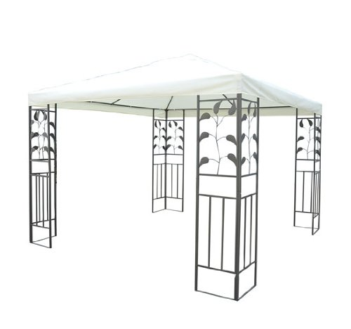 Outsunny 10 X Leaf Frame Steel Gazebo W Off White Canopy