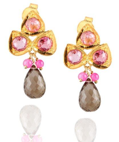 Emma Chapman Jewels Little Lakshmi Lotus Pink Tourmaline Earrings