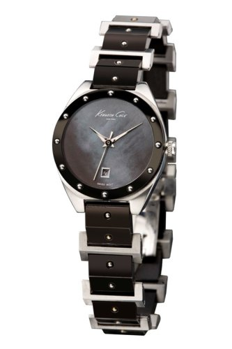 Kenneth Cole Swiss Collection Lady Silver-Black Wristwatch for Her Design Highlight