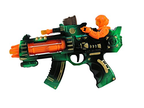 Rocket Launching Pistol / Toy Machine Gun; Lights & Sounds with Spinning Rockets and Top Gunner