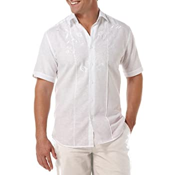Woven Shirt with Embroidered Chest Detail by Cubavera.