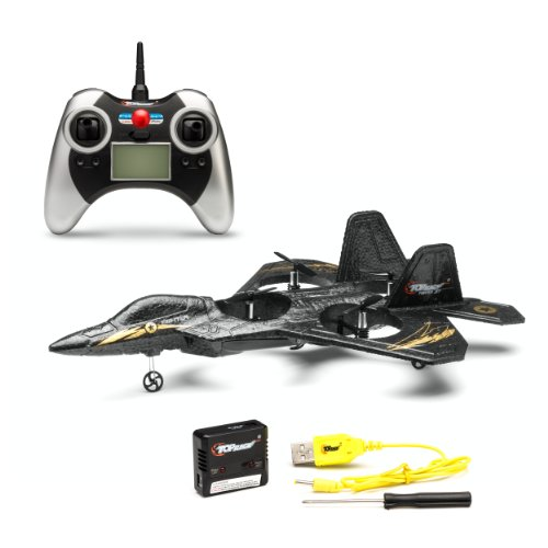 Top Race F22 Fighter Jet 4 Channel RC Remote Control Quad Copter RTF, Black