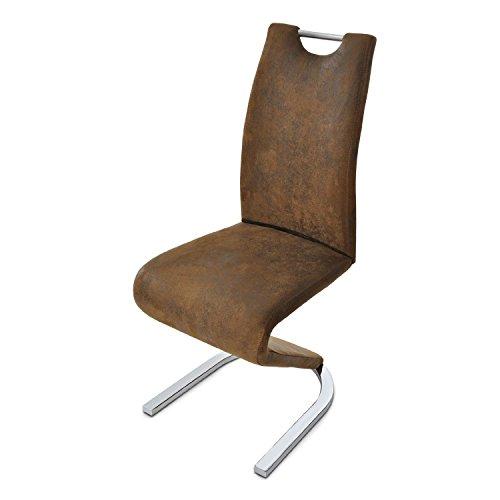 SAM-Exklusiver-Design-Freischwinger-Stuhl-TARA-in-Wildlederoptik-mit-Stoffbezug-mit-einem-chromfarbenen-Gestell-Fu-in-einer-modernen-U-Form-Lieferung-mit-einem-Paketdienst