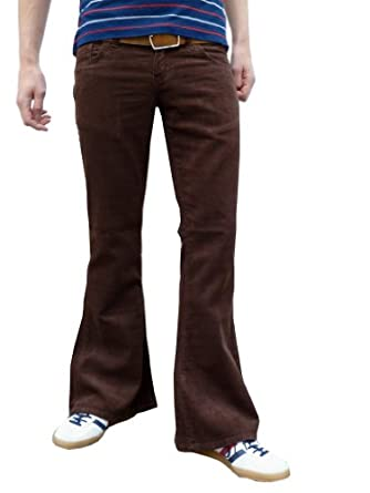 Mens retro brown bell bottoms cord flares vintage 60s 70s style (30W 30L)
