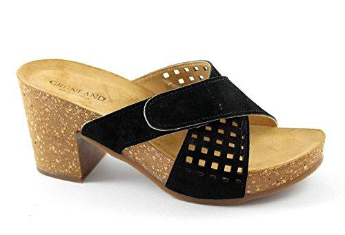 GRUNLAND GRUP CB0638 nero sandali zoccoli donna strappo 36