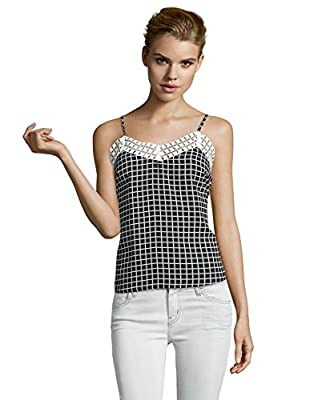 Greylin Women's Check Chiffon Embroidered Miranda Tank