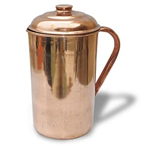 Amazon.com: Copper Pitcher Jug with Lid Handmade Indian Drinkware ...