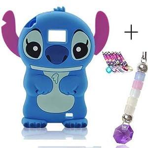 3D Disney Stitch Silikon Handyschale+frei Handyanhänger für Samsung Galaxy S2 SII I9100 i9105(Blau)