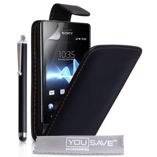 Sony Xperia Miro Zubehör Tasche Xperia Miro ST23i Schwarz PU Leder Flip Hülle Mit Griffel Stift