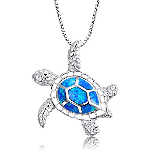 Z&T [Health and Longevity] Love You More 925 Sterling Silver Created Blue Opal Birthstone Sea Turtle Necklace