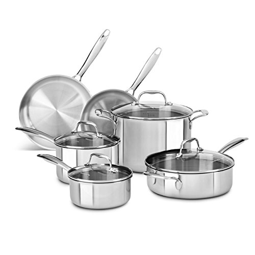 KitchenAid 10 Piece Tri-Ply Stainless Steel Cookware Set (Kitchenaid Triply compare prices)