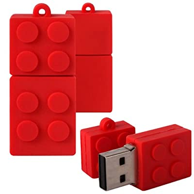 Shop4 8GB Red Toy Brick Style Shape Novelty USB Data Memory Stick Storage Device with Key Chain from Shop4accessories