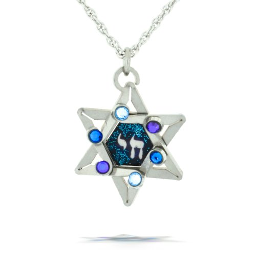 Blue Star & Chai (Life) Necklace from the Artazia Collection #326BL JN