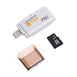 TFZ iPhone Flash Drive [Apple MFI Certified] USB Memory Stick 32GB TF Card External Storage with Lightning Connector for Apple iPhone 7 iPod iPad Mac PC with app i-easy drive White