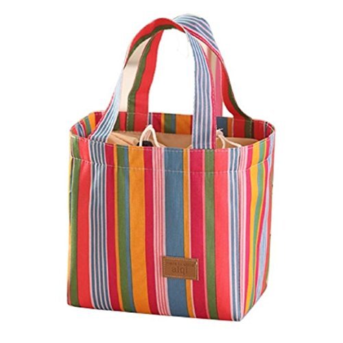 TIFENNY Colorful Stripe Inner Aluminum Foil Lunch Bag (Insulated Lunch Bag Coleman compare prices)