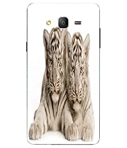 Case Cover Cute Tiger Cubs Printed White Soft Back Cover For Samsung Galaxy On7
