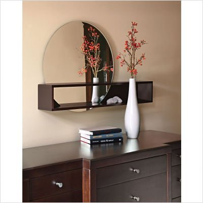 nexxt Tate Series Round Mirror with Intersecting Shelf, Espresso Finish
