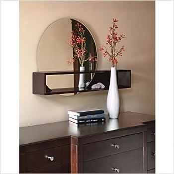 nexxt Tate Series Round Mirror with Intersecting Shelf, Espresso Finish