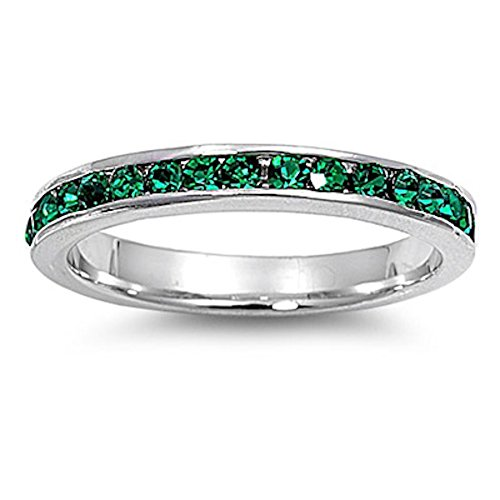 Simulated Emerald Stackable Eternity Wedding Anniversary Band .925 Sterling Silver Sizes 9