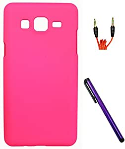 FCS Rubberised Hard Back Case For Samsung Galaxy On7 With Capacitive Touch Screen Stylus And 3.5mm 1 Meter AUX Cable