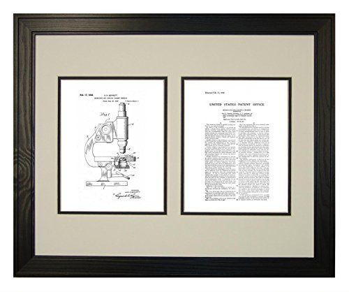 "Microscope And Counting Chamber Patent Art White Matte Print In A Solid Pine Wood Frame (16"" X 20"")"
