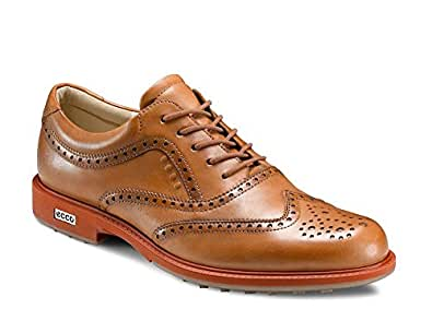 ecco mens all leather tour hybrid wingtip golf