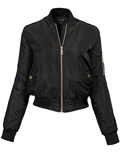 Warm Solid Color Classic Padding Bomber Jackets 144-black Large