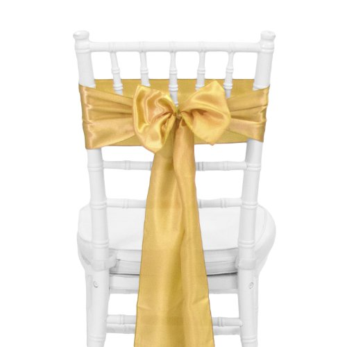 Koyal Wholesale 10-Pack Satin Chair Sash, 6 By 108-Inch, Champagne front-1079241