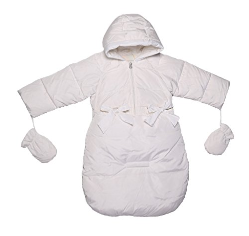 Oceankids Baby Girls Newborn Pram Down Bunting Snowsuit Detachable Bottom White 3M 0-3 Months