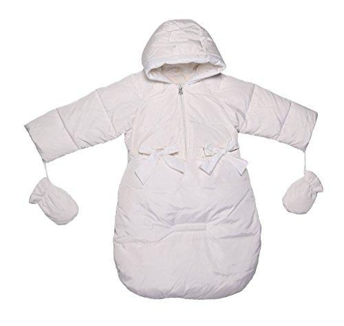 Oceankids Baby Girls Newborn Pram Down Bunting Snowsuit Detachable Bottom White 3M 0-3 Months