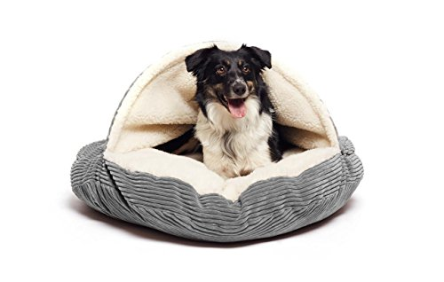 Precious Tails Gray Corduroy Round Cave Hamburger Pet Bed with Sherpa Interior & Plush Fur Interior 35""