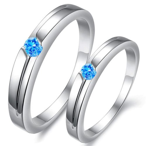 Platinum Plated Couples Ring Love Finger Band Hoop Blue Rhinestone Wedding 915 (Women's Ring, 5.5)