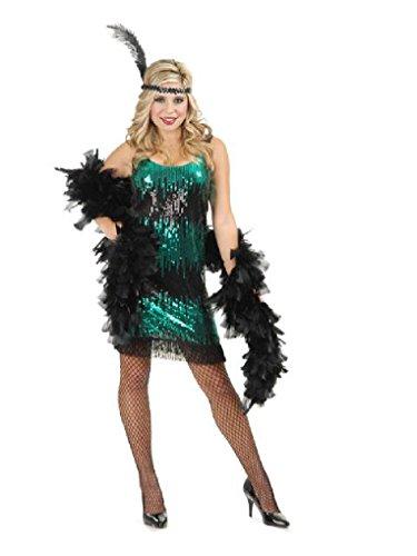 [Mygems Adult Black and Jade Sequin Flapper Fancy Dress Costume] (Girls Jade Princess Costumes)