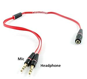 """CablesOnline 13"""" Headphone 3.5mm Stereo Female to 2 Male Flat Red Splitter iPhone to Mic/Headphone adapter"""