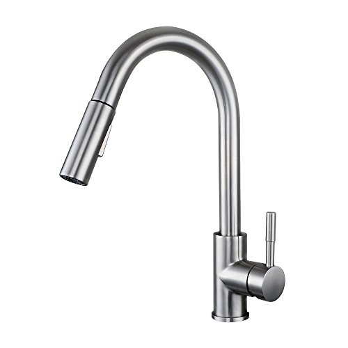 KES LEAD-FREE SUS 304 Stainless Steel Pull Down Kitchen Faucet Single Handle Contemporary Style Bar Sink Water Mixer Tap with Pull Out Sprayer Swivel High Arc Spout, Brushed Finish, L6957 (Water Mixer Tap compare prices)