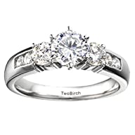 Silver Embellished Three Stone Engagement Ring with Charles Colvard Created Moissanite (0.35 ct….