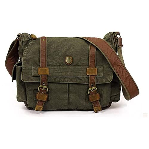 sulandy@ Multi-Function Vintage Canvas Leather Hiking Travel Military Backpack Messenger Tote Bag for women and...