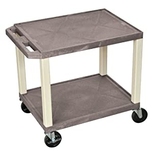 H. Wilson -Rolling Plastic Av Multipurpose Utility Storage Cart No Electric Gray and Putty