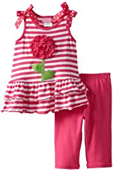 Good Lad Baby Girls' Knit Stripe Legging Set with Big Flower Applique
