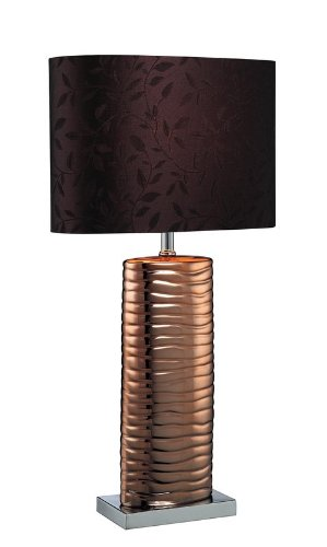 Lite Source LS-21281COPPER Fantino Ceramic Table Lamp with Fabric Shade, Brown