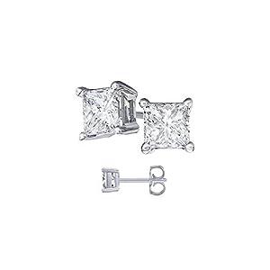 4.00 Carat Total Cubic Zirconia Princess Cut 925 Sterling Silver Stud Earrings Princess Cut Cubic Zirconia. 2.00 Carat Each Stone