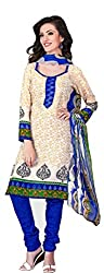 Lovely Look Cream Printed Dress Material