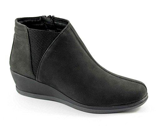 GRUNLAND SOEI PO0444 nero scarpe donna comfort tronchetto zeppetta