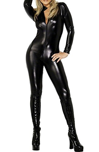Womens Pvc Look Lycra Catsuit