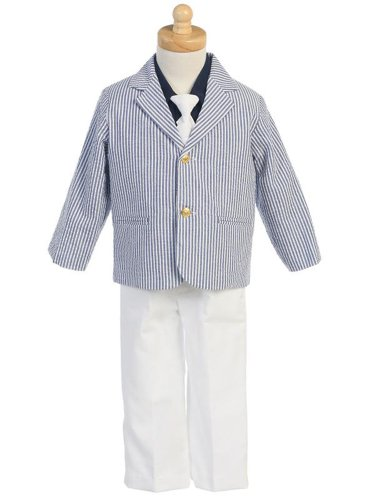 Boys Seersucker -Long White Pants w/Navy Pinstripe Jacket - 4T  Review