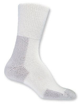 Thorlo Unisex Thick Cushion Running Crew Sock, White/Platinum, Small