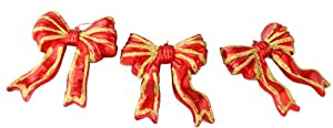 Pack of 3 Red and Gold Glitter Bow Shatterproof Christmas Ornaments 3.75""